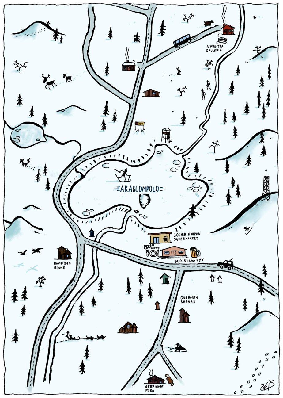 Carte de la région de Akaslompolo centrée sur le lac du même nom. On peut voir dans le décor des rennes, un renard, un traineau tiré par des chiens et autres détails typiques de la région.