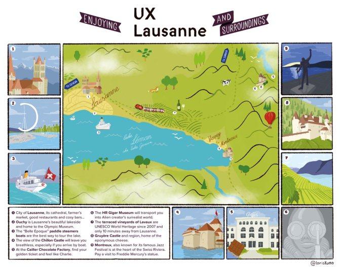 Carte allant de Lausanne à la Gruyère illustrant une dizaine d'activités à faire dans la région. Entres autres: une promenade en bateau sur le lac, le château de Chillon, les vignes en terrasse de Lavaux, etc.