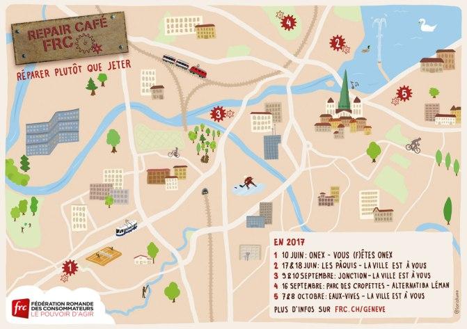 Carte illustrant les différents lieux et dates pour la présence de Repair Café dans le canton de Genève.