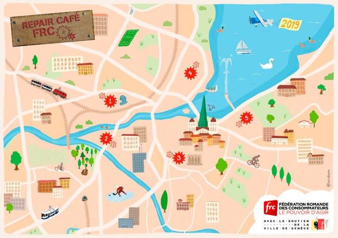 Carte illustrée de la ville de Genève dans un style simple et coloré.