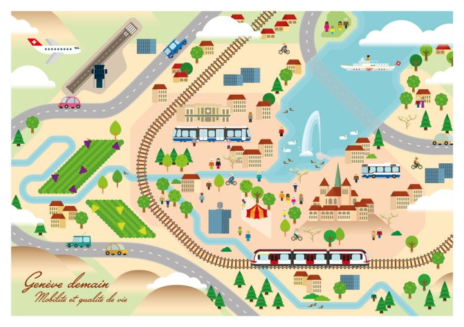 Carte illustrée du canton de Genève faisant apparaitre de nombreux moyens de transports tel qu'un bus, un tram, un bateau, un train et plusieurs voitures.