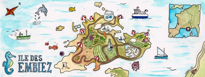 Carte de l'île des Embiez dans le Sud de la France. On y voit les vignes, les plages et des poissons ainsi qu'un plan plus global afin de situer le lieu sur la carte de France.