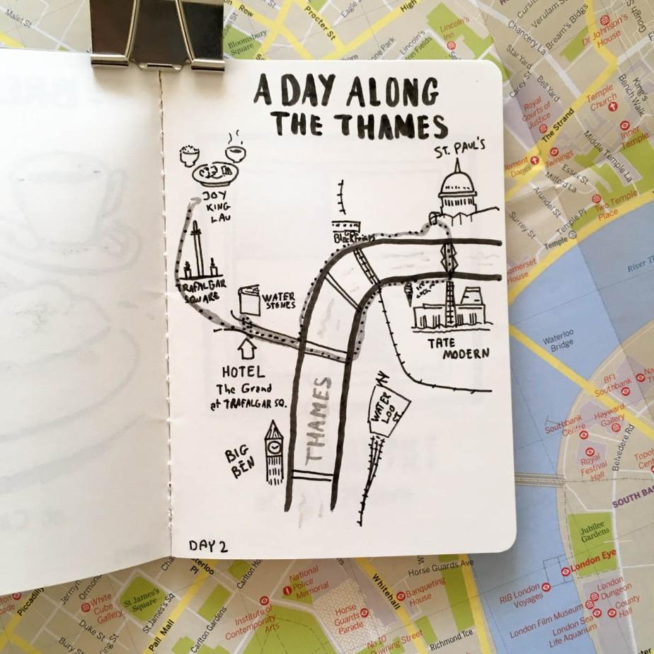 Carte de notre promenade du jour à Londres le long de la Tamise