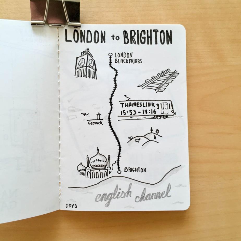 Carte de notre trajet en train entre Londres et Brighton
