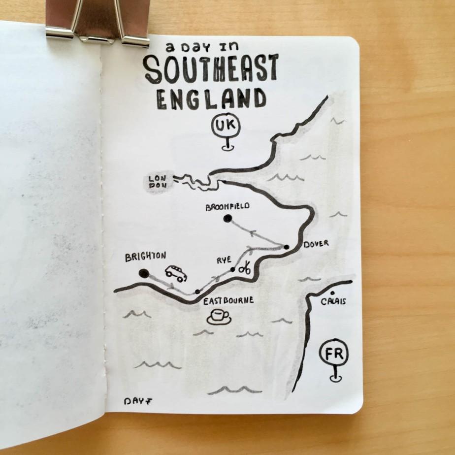 Carte de notre trajet de la journée à travers l'Angleterre du Sud-Est.
