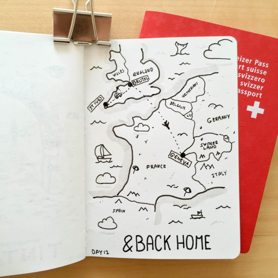 Carte de l'Europe présentant la Grande-Bretagne, la France et la Suisse et illustrant notre voyage en avion de Bristol à Genève