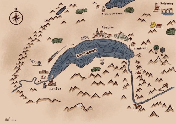 Carte de la région lémanique dans un style médiéval