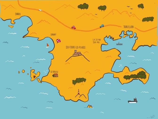 Illustration simple de la région de Six-Fours-les-Plages. On y voit quelques éléments géographiques tel que l'île des Embiez ou la baie de Toulon.