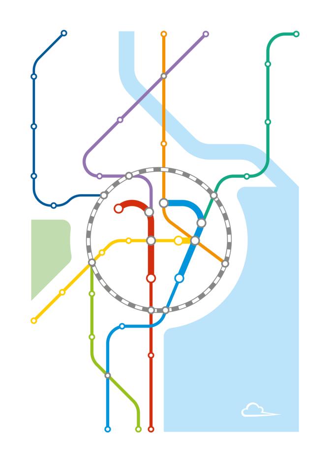 """Illustration à la façon d'un plan de métro. Les lignes centrales dessinent le chiffre """"17""""."""