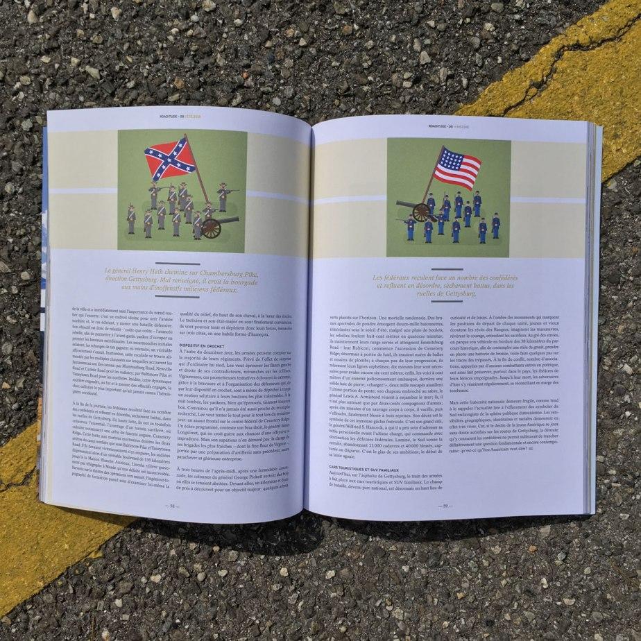 Double page ouverte du magazine ouverte à la page des deux illustrations des armées avec leur drapeaux respectifs.