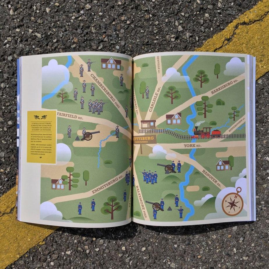 Double page ouverte du magazine ouverte à la page de l'illustration principale.