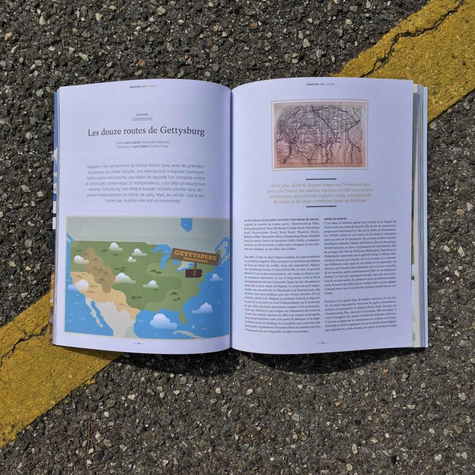 Double page ouverte du magazine ouverte à la page de titre et de la carte des USA.