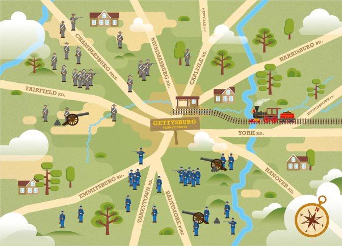 Carte illustrée des 12 routes de Gettysburg.