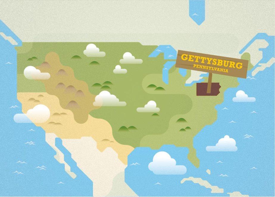 Carte illustrée des USA situant la Pennsylvanie et Gettysburg sur la carte.