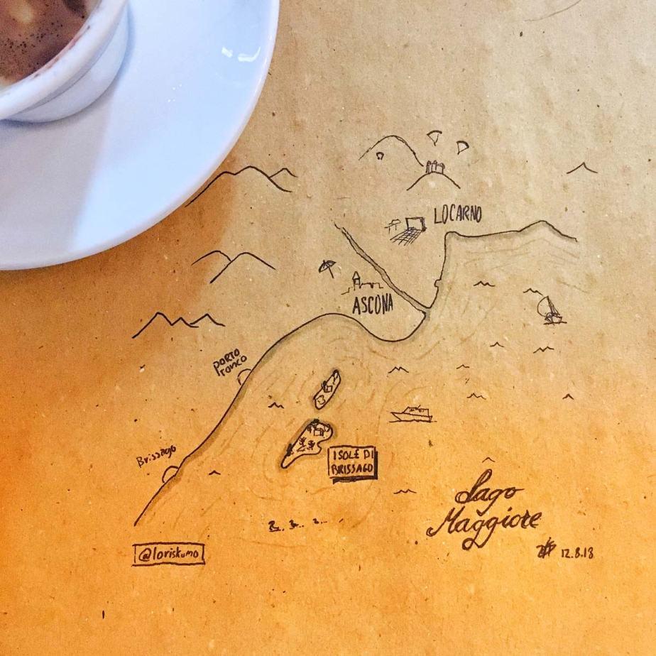 Carte illustrée du Lac Majeur et des îles de Brissago.
